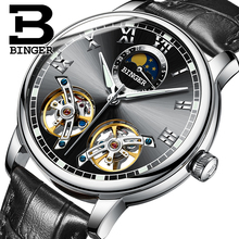 2017 NEW arrival men's watch luxury brand BINGER sapphire Water Resistant toubillon full steel Mechanical Wristwatches B-8607M-7