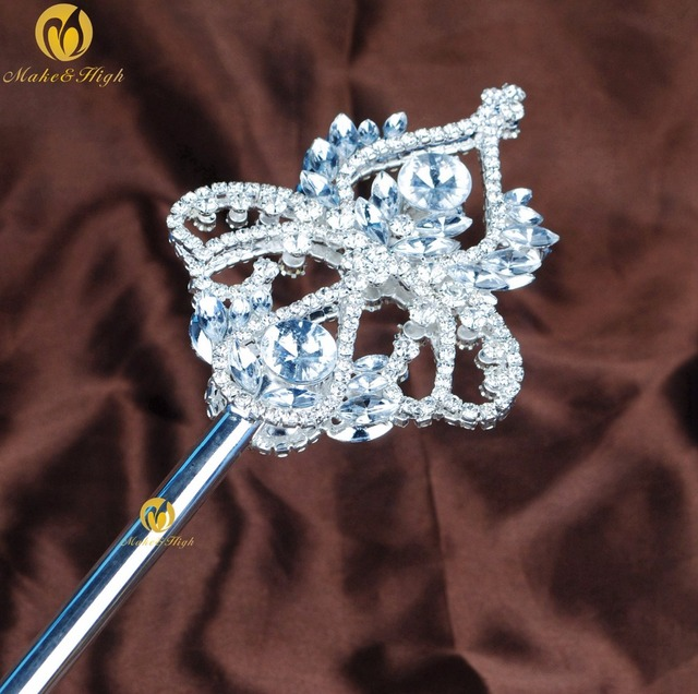 Vintage Floral Long Scepter Wands Clear Crystal Rhinestones Silver Handmade  Prop Pageant Parade Costumes Party Accessoires c0c28c9bb3dc