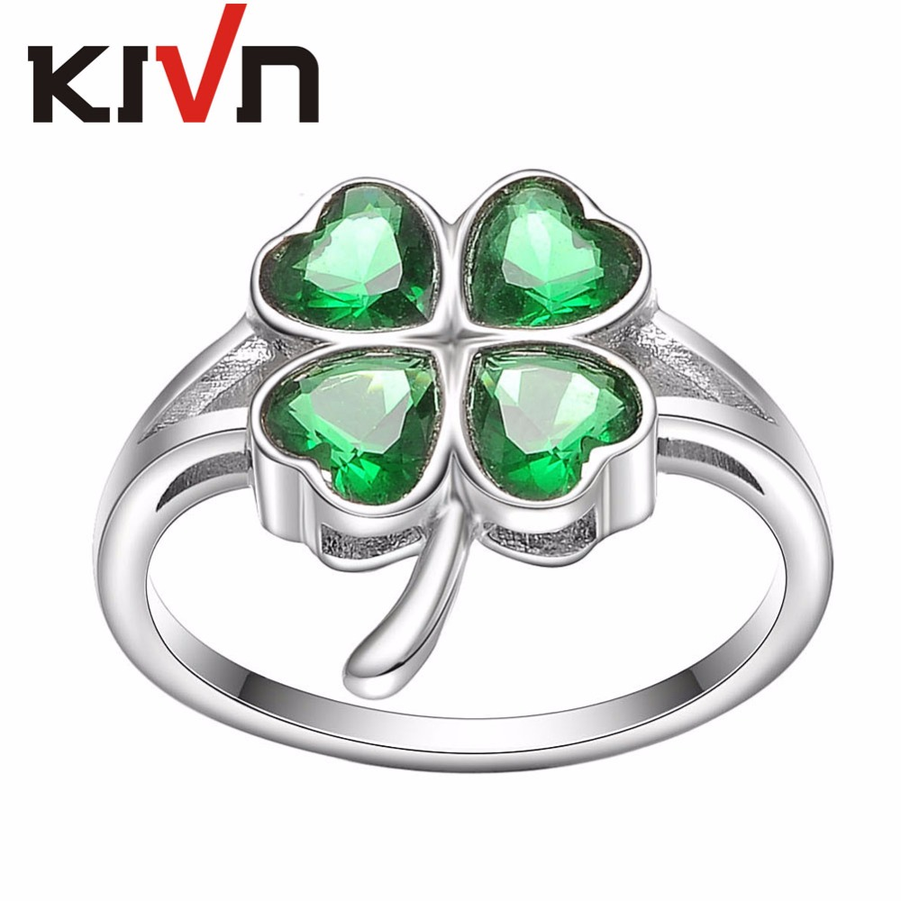 KIVN Fashion Jewelry Lucky Four Leaf Clovers Womens Girls Bridal Wedding Engagement Rings Mothers Promotion Birthday Gifts