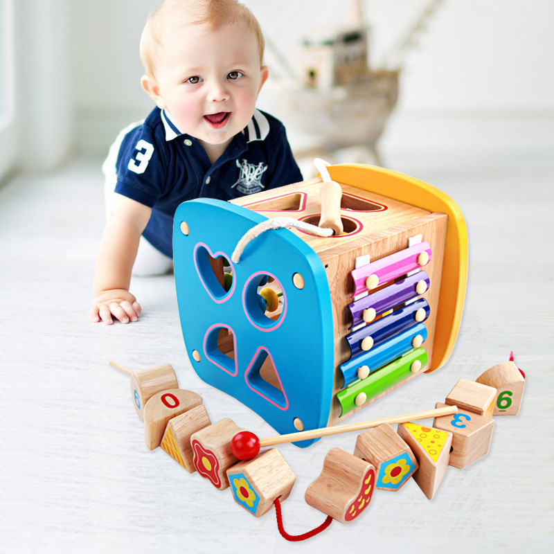 2017 New Arrival Baby Toys For Children Wooden Classic Wooden Multi Shape Sorter Block For Kids