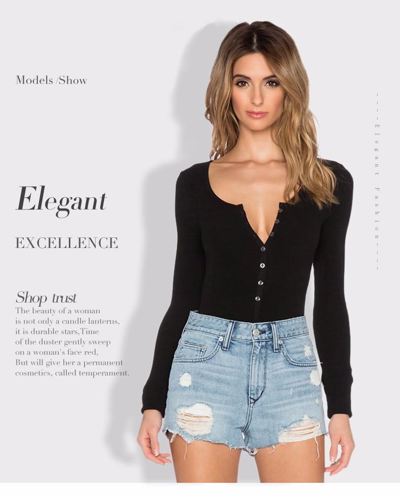17 New Single Breasted Slim Body Suit Sexy Combinaison Femme Buttons Womens Jumpsuit Black Leotard Bodysuit For Women C166 4