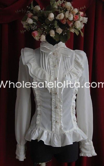 Женская бежевая шифоновая блуза с воротником-стойкой и длинными рукавами в мелкие складки, рубашка Лолита, Готическая блузка, изготовленная на заказ блузка
