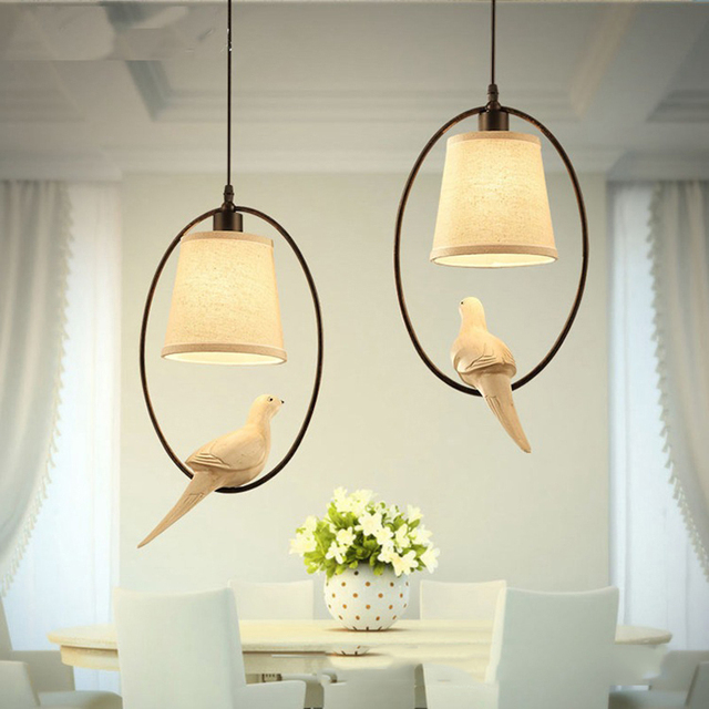 Mediterranean single bird pendant light dining room lamp study bar
