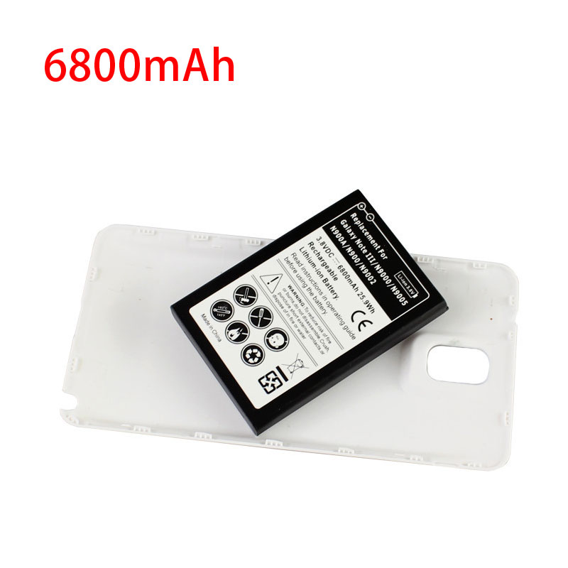 Battery For Samsung Galaxy Note 3 6800mAh Phone Extended White Back Cover Door Case Smartphone batteria N9000 N9005 N900A N9002
