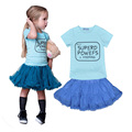 Baby girl clothing sets superd powefs short t-shirt + tutu skirt baby girl clothes children clothing set vetement enfant ropa