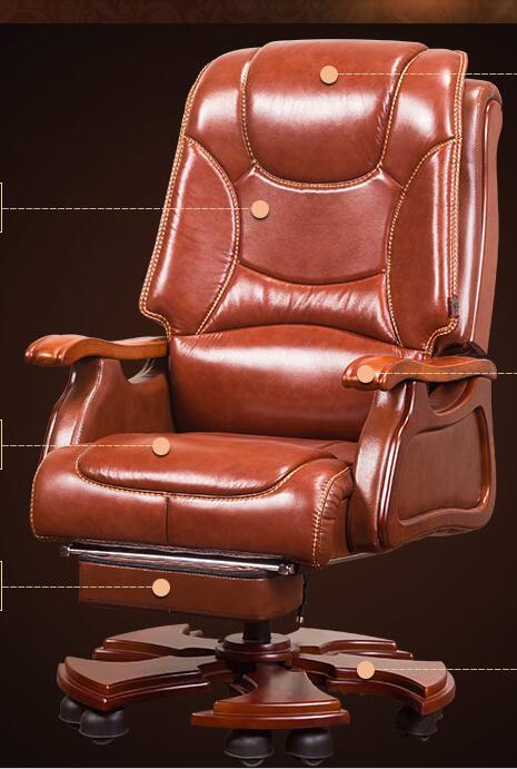 Boss Chair Leather Reclining Massage Chair Chair Wood Swivel Chair Computer Chair Home Lift Office Chair.