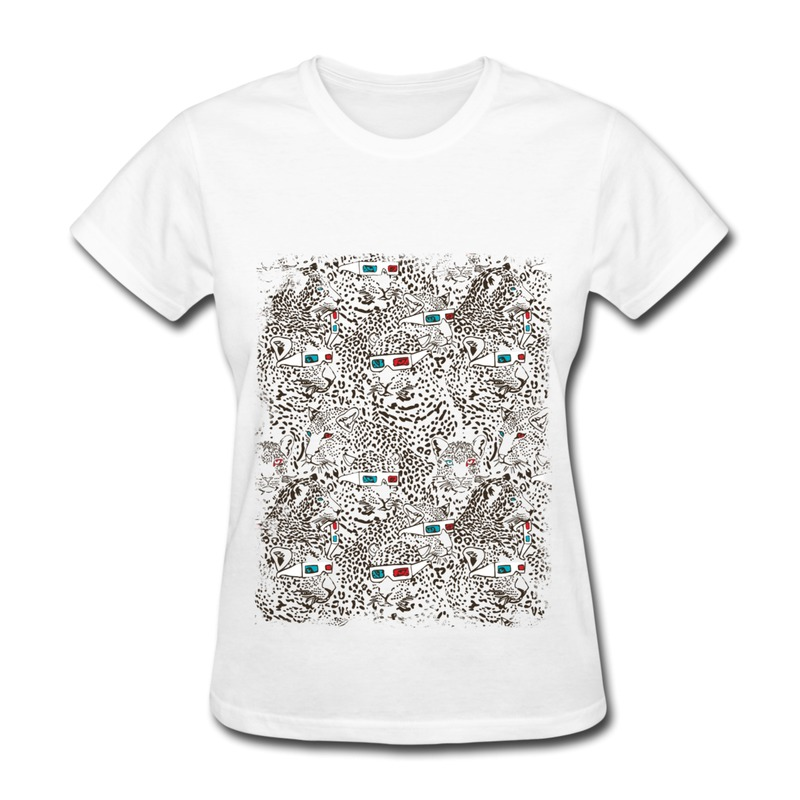 Womans t shirt short sleeve leopard pattern make your own Build your own t shirts