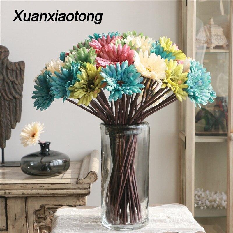 Xuanxiaotong 5pcs/set Silk Gerbera Flowers Arrangement Flower African Chrysanthemum for Room Adornment Artificial