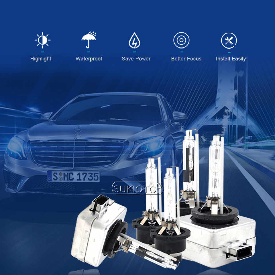 SUKIOTO 2 PCS Xenon D1S 5000 K D2S D3S 6000 K D4S D2R D4R 4300 K 8000 K per AUDI q7 BMW PASSAT HONDA TOYOTA auto Faro accessori
