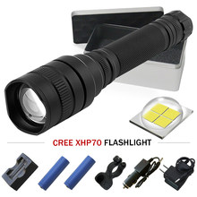 XHP70 LED Flashlight Zoom 10000 LM high power rechargeable led flashlights 5 Modes Waterproof Torch lanterna xhp70 18650 camping(China)