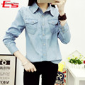 Plus Size S-XXL 2017 Autumn Women Long Sleeves Denim Shirt With Pockets Vintage Jeans Blouse Washed Blue Camisa Jeans Feminino