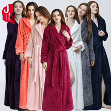 Women Extra Long Warm Coral Fleece Bathrobe Winter Thick Flannel Thermal Bath Robe Kimono Dressing Gown Bride Peignoir Sleepwear цены