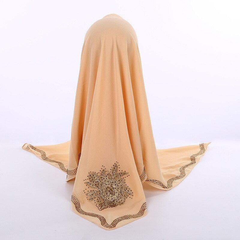 High Quality Pearl Chiffon Square Hijab Scarf With Appliques Large Flower Decor Islam Women Luxury Diamonds Edges Muslim Shawl