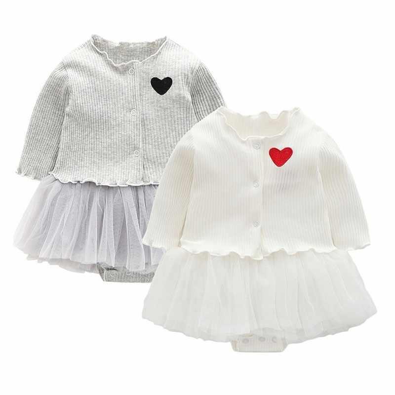 Ropa de bebé recién nacido corazón chaleco falda con Rebeca de manga larga fiesta cumpleaños ropa para bebé niñas princesa vestido regalo