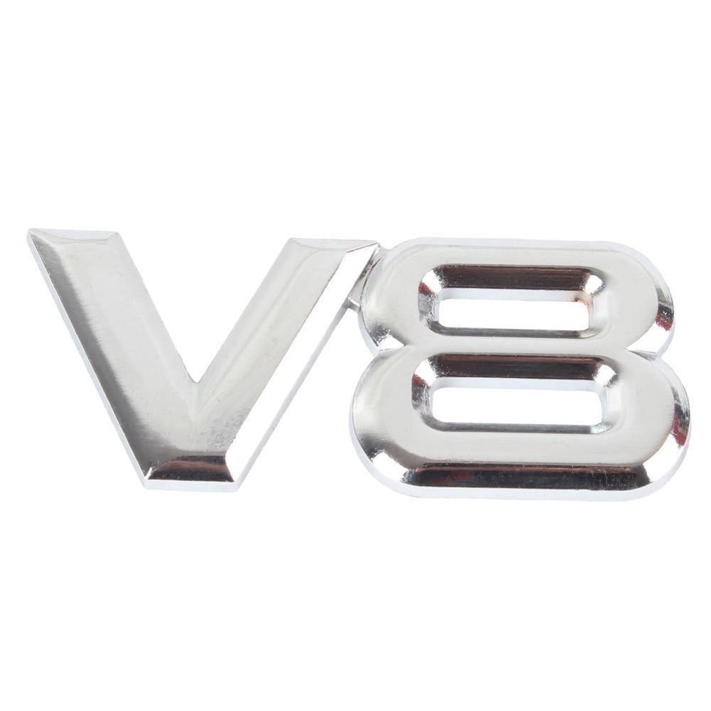 Metall 3D V8 Motorverdrängung Auto Abzeichen V8 Emblem Logo Aufkleber V8 Auto Auto Aufkleber Abzeichen Styling