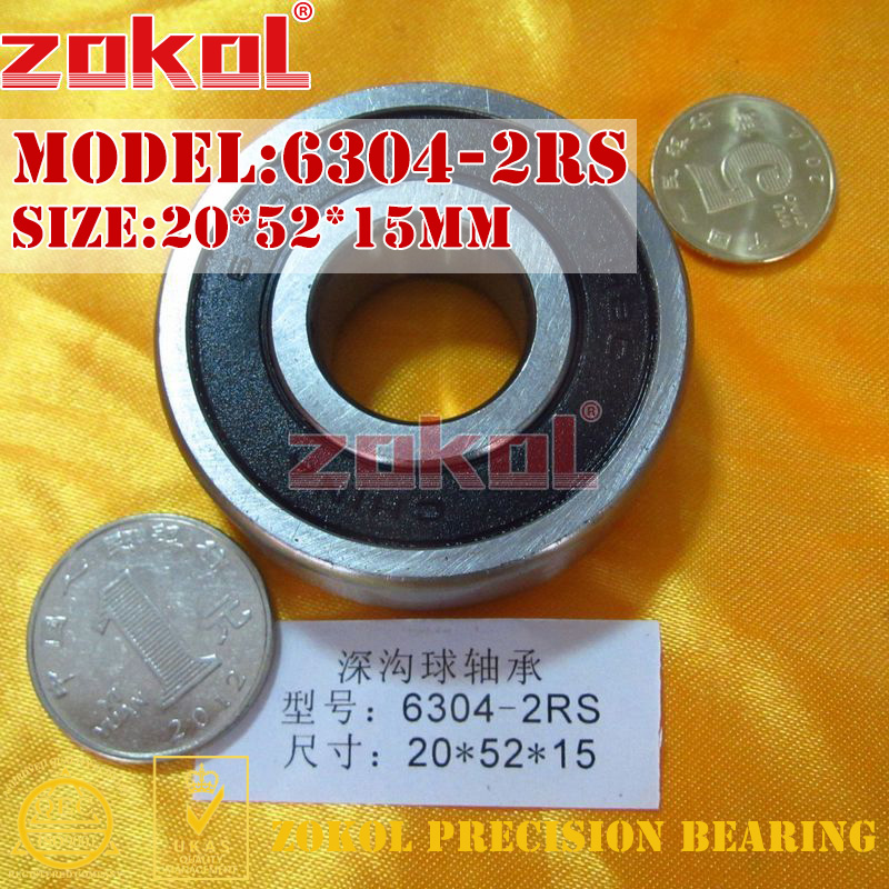 ZOKOL 6304RS Bearing 6304 2RS RS 6304-2RSN Deep Groove Ball Bearing 20*52*15mm