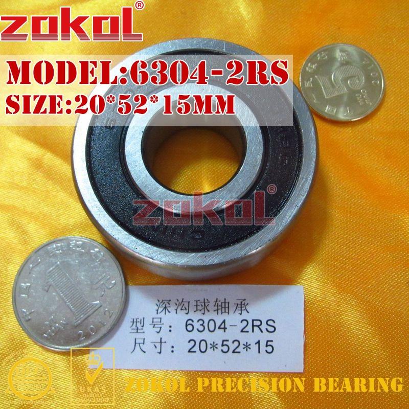 ZOKOL 6304RS Bearing 6304 2RS RS 6304-2RSN Deep Groove Ball Bearing 20*52*15mm