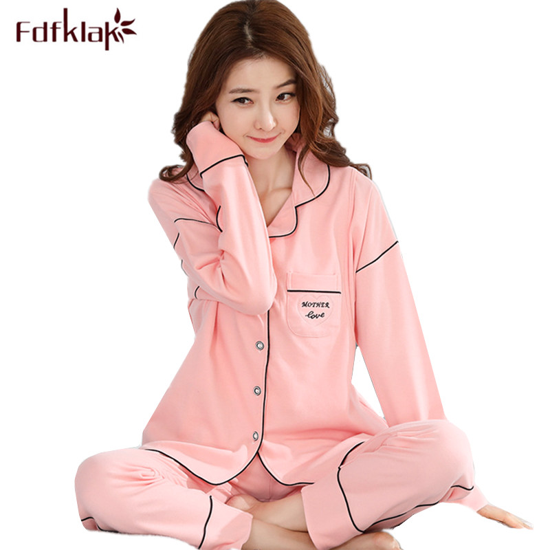 Fdfklak High Quality 2018 New Maternity Clothes Spring Autumn Nursing Pajamas Women Long Sleeve Pregnancy Nightwear Pijamas