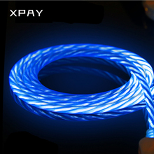Led Luminous Micro USB Bright Data Line Cable Colorful emitting Charge Wire Tube Charging 1M For iPhone 6S Android LED