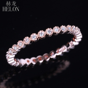 Image 2 - HELON Diamonds Band Solid 14K Rose Gold Fine Jewelry Womens Milgrain Bezel 0.15ct Natural Diamonds Engagement Wedding Ring