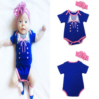 Bodysuit Baby Body Baby Direct Selling Real Fashion Girls Cotton Short Sleeved Romper Head Hoop Two