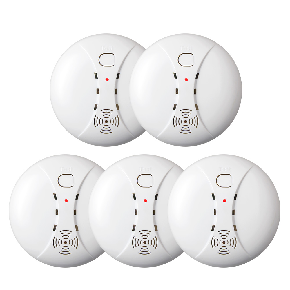 Fuers 5pcs Wholesale Wireless 80dB Loudly Smart Smoke Detector Fire Smoke Sensors 433MHz For Home Security GSM WiFi Alarm System wireless zigbee smart anti fire alarm smoke sensor smart home sensors