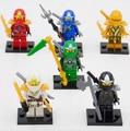 Decool mini ninjagoes lote figuras kai lloyd jay cole zane golden ninja ladrillos juguetes lepin compatible 10011-10016