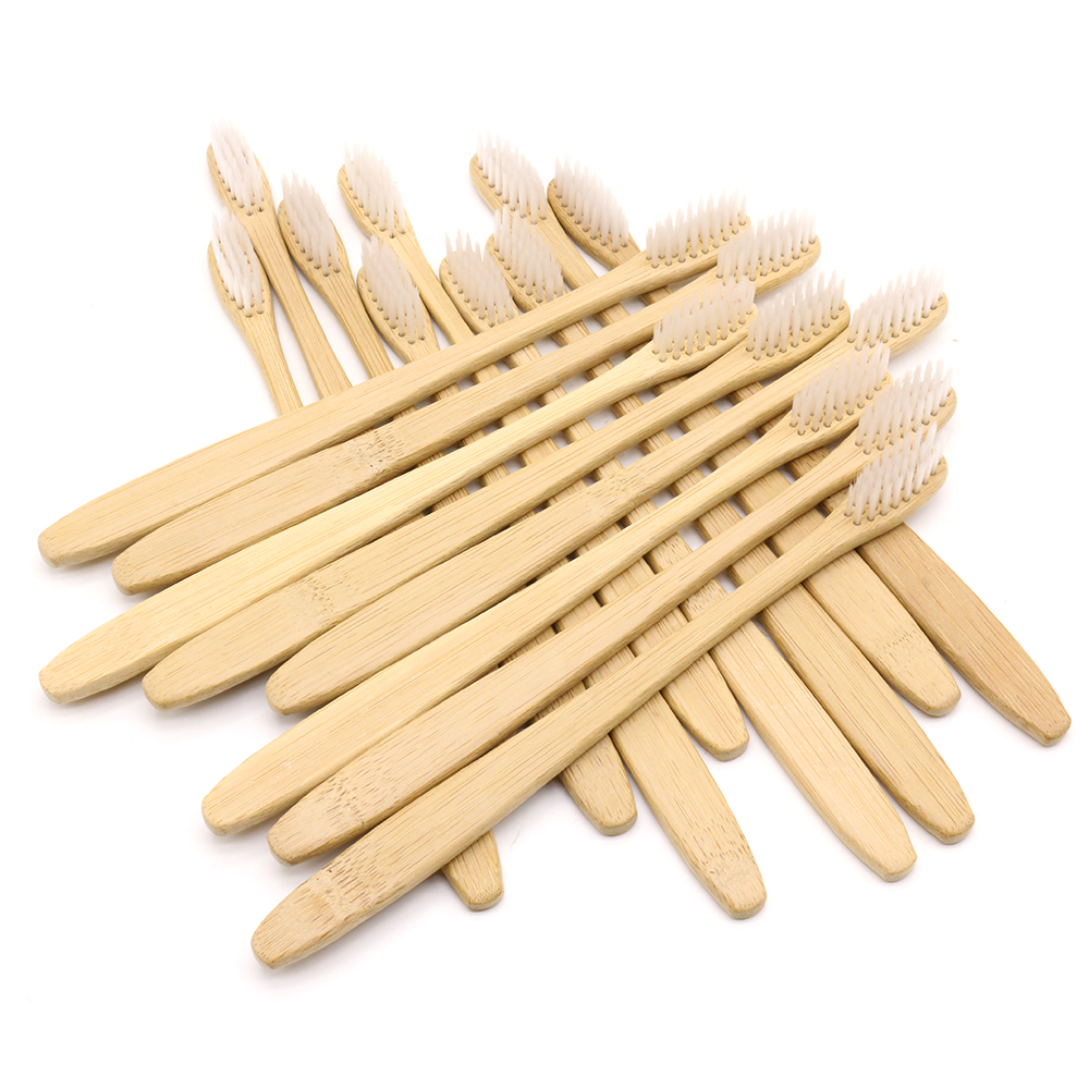 DR.PERFECT 100 pcs Slim Neck Bamboo Toothbrush Wholesale Eco friendly Wooden Bamboo Toothbrush Oral Care Black Head