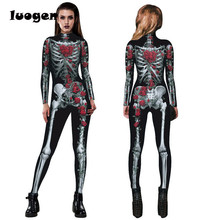 Gothic Skull Rose Printed Jumpsuits Skull Costume for Halloween Cosplay Casual Women One Piece Outfits Jumpsuits Long Sleeve