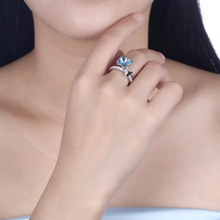 Real 100% Silver 925 Jewelry Zircon Diamond Adjustable Opening Anillo De Ring for Women Crystal Blue Geometric Bizuteria