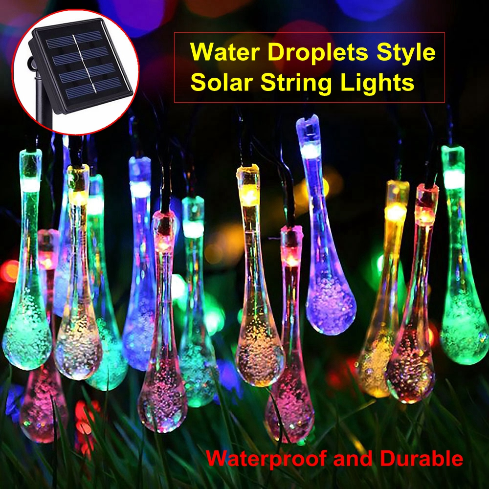HoozGee Solar Lighting String Outdoor Garden Multicolor Dream 20 LED Water Drop Fairy Lamp Lights for Home Christmas Party Decor