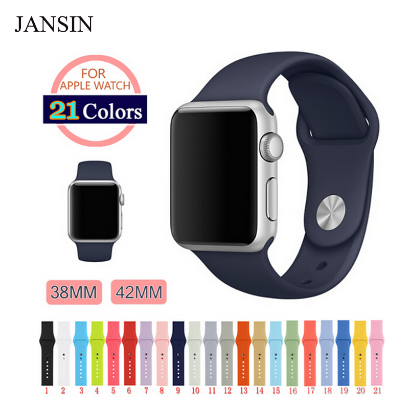 JANSIN Silicon Band for Apple Watch band 42mm 38mm Series 3 2 1 Replacement sport wrist belt Watch Strap for iwatch jansin 22mm watchband for garmin fenix 5 easy fit silicone replacement band sports silicone wristband for forerunner 935 gps