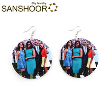 SANSHOOR 6cm Afro Round Wood Earrings Obama Family Photo American President Fashion Jewelry Gift for African Black Woman 1 Pair(China)