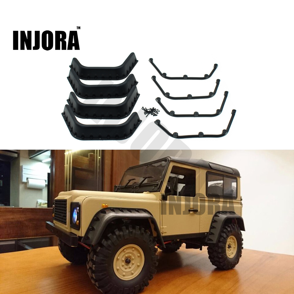 INJORA Black Fender Flares for 1:10 RC Crawler RC4WD D90 D110 Axial SCX10 Body Shell Parts