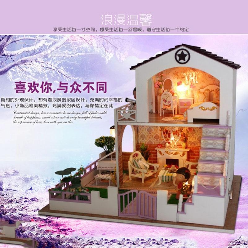 ФОТО D028 DIY Wooden Miniatura villa Doll House Furniture Handmade 3D Miniature Dollhouse Toys