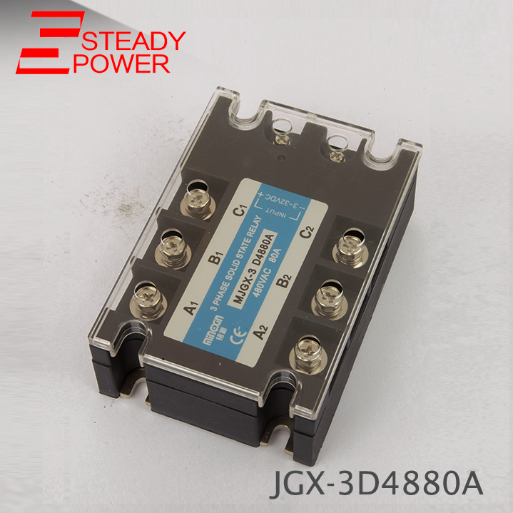 цена на high quality DC Control AC MJGX-3D4880A 80A actually 3-32VDC TO 24-380VAC Three phase solid state relay