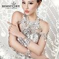 Великолепная свадебные украшения женщины длинные кристалл ожерелье цепь тела цепи ювелирные аксессуары свадебный плечевой ремень бижутерия