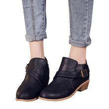 YOUYEDIAN Women Round Toe Shoes Pure Color Booties Buckle Strap Square Heel flat ankle boots for women #L2.5(China)
