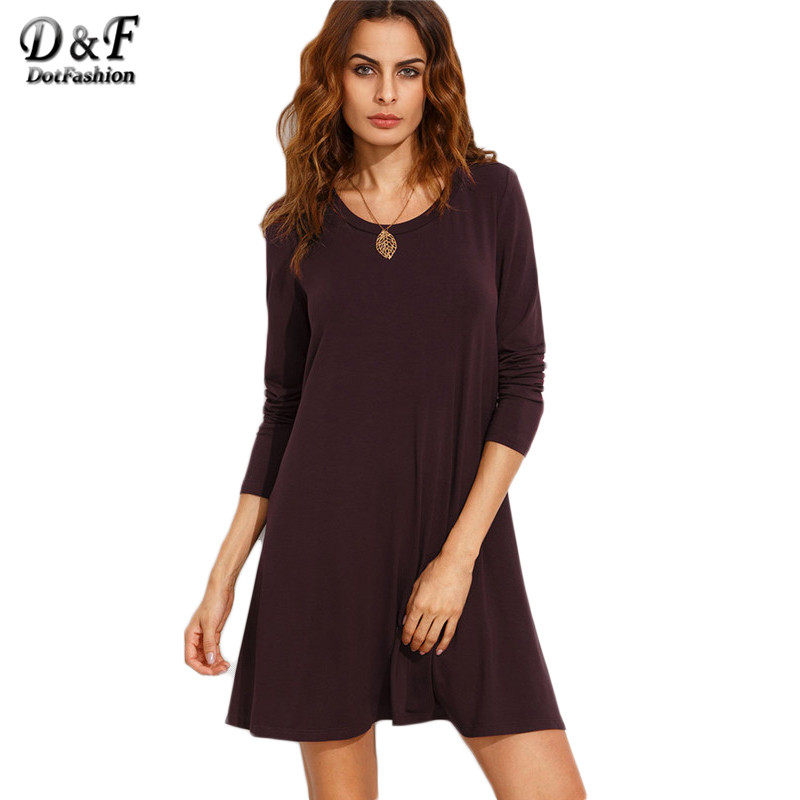 Dotfashion burgundy long sleeve t shirt dress 2016 fall Women s long sleeve shirt dress