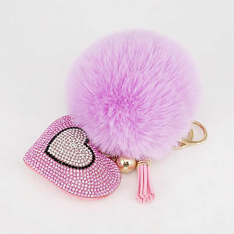 Pompom Keychains Rhinestone Heart  Women's Bags Key Ring Handmade Accrssories Keyrings  Pendants Charming Suspension Decoration
