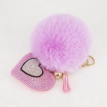 Pompom Keychains Rhinestone Heart  Women's Bags Key Ring Handmade Accrssories Keyrings  Pendants Charming Suspension Decoration