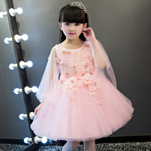 2017 New Arrival Korean Sweet Hand-made Flower Design Princess Dress Wedding Party Girls  Dress Communion Dresses Size:100-150