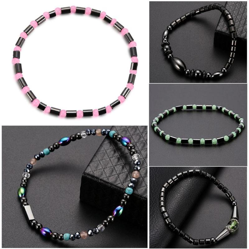1Pc Weight Loss Round Black Stone Magnetic Therapy Anklet Health Care Magnetic Hematite Stretch Anklet For Men Women Jewelry 5