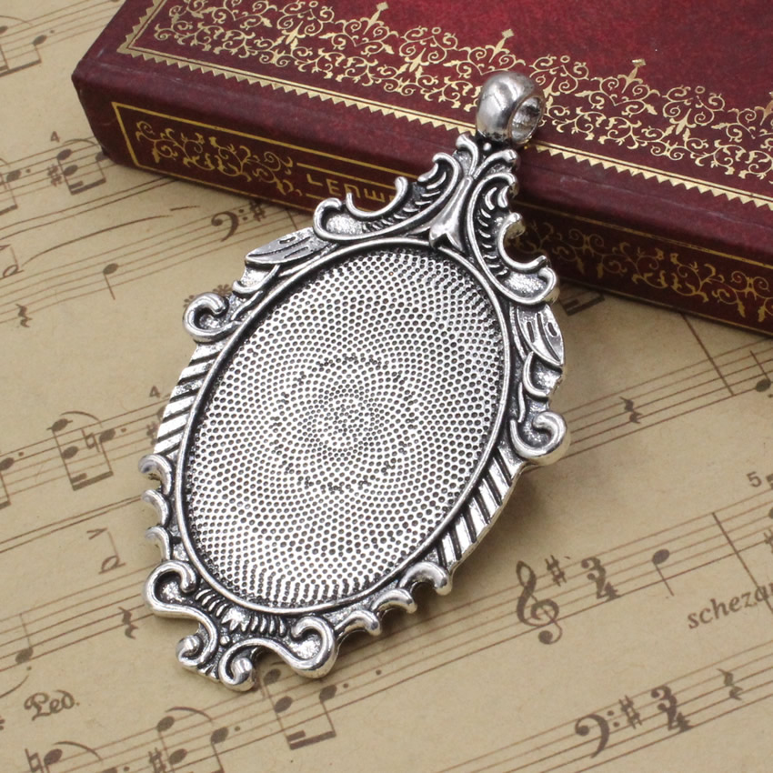 6 Pieces Oval Charms Silver Alloy Cabochons Base Pendant Tray Setting Frame
