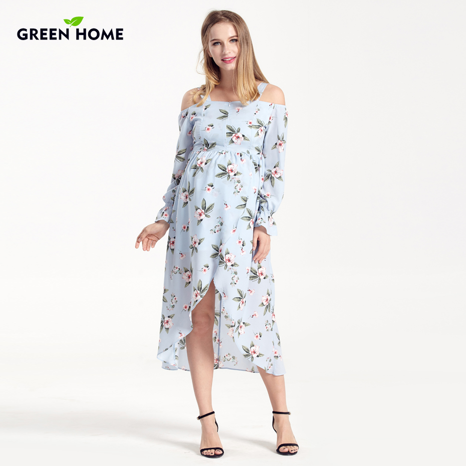 8c93c69393b6e Green Home Stretch High Waist Floral Printing Maternity Dress Shoulderless Pregnant  Women Fresh Pregnancy Dresses Maternity Robe-in Dresses from Mother ...