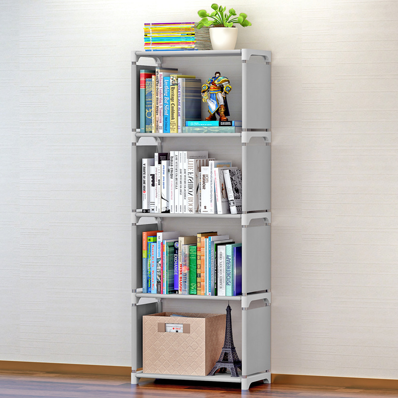 Home Furniture 4 Tiers 3 Grids Nonwoven Fabric Bookshelf Kids Home Decoration Living Room Dorm Books Storage Organizer Easy Assembly Bookcase Attractive Appearance Furniture