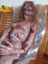Gran oferta 2017 decoración de terror Halloween espeluznante fantasma zombi sangriento aterrador cuerpo completo Zombie Escape para casa embrujada Bar Props