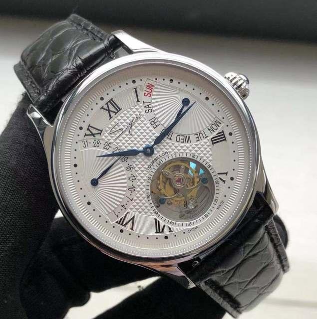 יוקרה ST8004 Tourbillon שעון גברים תנין עור לוח שנה תצוגת שבוע Mens יד Winding מכאני שעונים 5ATM עמיד למים