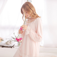 Female autumn and winter long sleeve length pants sexy lace vintage royal princess sleep set sweet loose lounge white