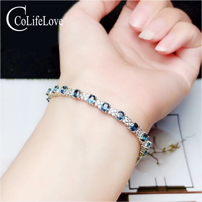 CoLife Jewelry Sterling Silver Sapphire Bracelet for Office Woman Natural Sapphire Gemstone Bracelet 925 Silver Sapphire JewelryCoLife Jewelry Sterling Silver Sapphire Bracelet for Office Woman Natural Sapphire Gemstone Bracelet 925 Silver Sapphire Jewelry